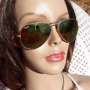 RayBan Aviators RB3025 Gold Green Sunglasses Case